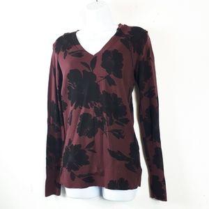 Loft Wine Color Black Flower Sweater Top